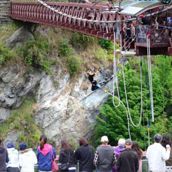 More than 400,000 people conquer New Zealand's Kawarau Bridge Bungy, the first-ever commercial jump site. // © 2014 AJ Hackett