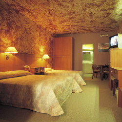 An underground guestroom at the Desert Cave Inn // © 2013 Desert Cave Inn