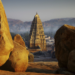 India's Hampi Temple seems to glow at sunset. // © 2013 Thinkstock