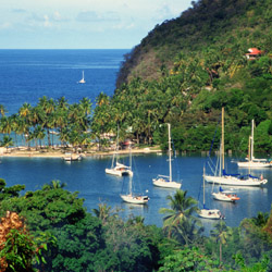 Charter a sailboat and propose in Saint Lucia's Marigot Bay. // (c) 2014 Thinkstock
