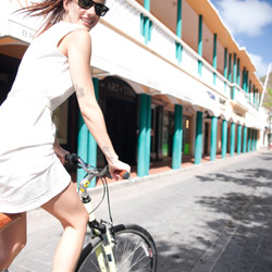 Some visitors to St. Maarten opt to sightsee by bicycle. © // 2014 St. Maarten Tourism Bureau