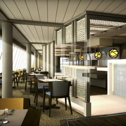 The new Lido Cafe will feature a sleek contemporary design. // © 2013 Crystal Cruises