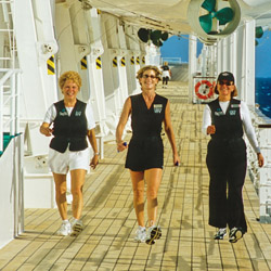 <p>Crystal Cruises' passengers can join in the Walk-On-Water fitness program, which includes walking the ship's promenades with weighted vests. // ©...