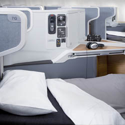 West coast travelers to London can enjoy the new American Airlines Business Class. // © 2014 American Airlines