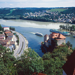 <p>Passau, Germany, sits at the junction point of three rivers: the Danube, the Inn and the Ilz rivers. // © 2014 Passau Tourist...