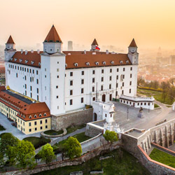 <p>A replica of the original, Bratislava Castle sits high on a hill above Bratislava, Slovakia and the Danube River. // © 2014 Courtesy Bratislava...