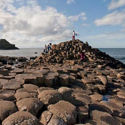 <p>Geometric and naturally formed basalt columns make up Giant's Causeway, a unique coastline approximately 60 miles outside of Belfast, Ireland. //...