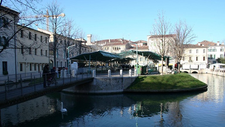 The Treviso canals form islands among the city.