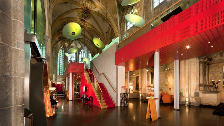 Modern touches adorn the inside of the 15th-century Kruisherenhotel Maastricht.