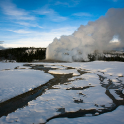A trip to Old Faithful includes an opportunity to try showshoeing. // © 2014 Thinkstock/ Martin Metcalf