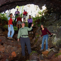 The Kona Coffee and Craters tour includes a trek through an enormous lava tube. // © 2014 Hawaii Forest and Trail