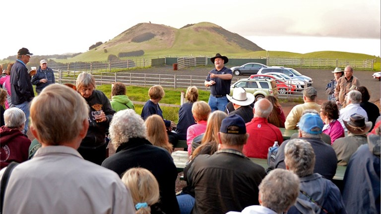 John Richards regales guests with fun and fascinating facts about Kahua Ranch.