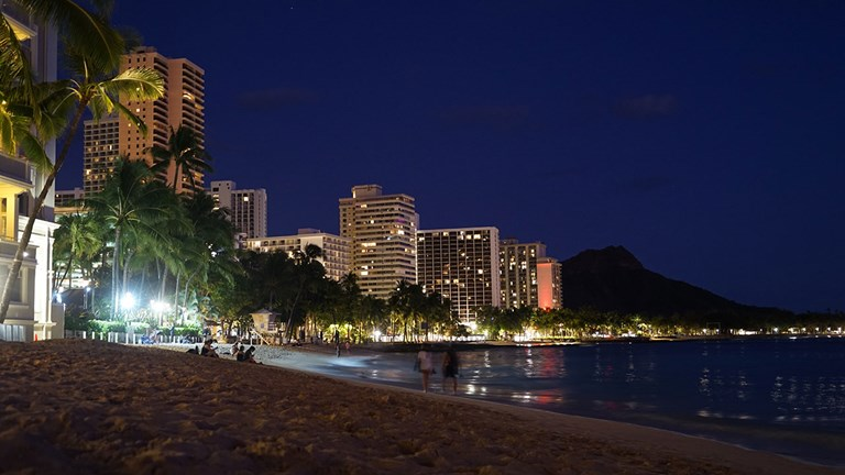 Crowds are few and far between on Waikiki Beach and the surrounding area.