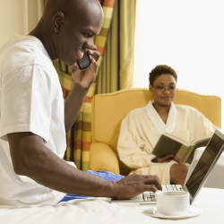 Based on guest desires, more hotels are striving to provide free Wi-Fi connectivity. // © 2014 Thinkstock