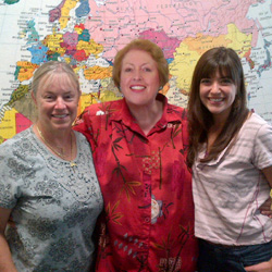 Aston regional sales manager Diane Fraser (center) posed for a photo with travel agents Pamela Paterson (left) and Emily Newlands (right) while...