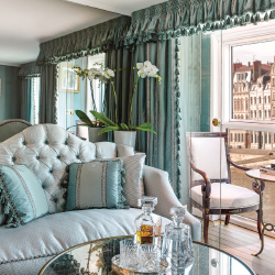 <p>Suites on Catherine include butler service. // © 2014 Uniworld Boutique River Cruise Collection</p><p>Feature image (above): The S.S. Catherine...