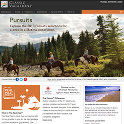Classic Vacations' new website encourages clients to use a travel agent.// © 2013 Classic Vacations
