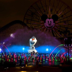 "The new 'World of Color – Winter Dreams' show features characters from the new Walt Disney Pictures film, ""Frozen."" // © 2013 Disneyland Resort"