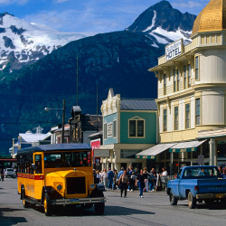 History meets humor on Skagway Street Car tours. // © 2014 Skagway Street Car Company