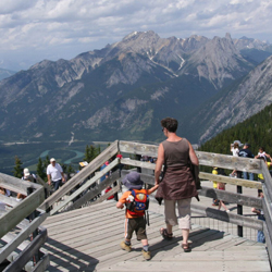 Visitors can enjoy beautiful views while hiking to the summit of Sulphur Mountain. // © 2014 Tanya Koob