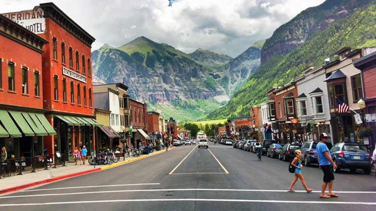 Telluride's downtown features historical buildings and is the site of many of the town's annual festivals.