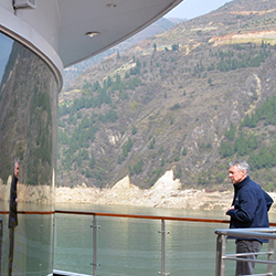 Patrick Clark of Avalon Waterways inspects the Century Paragon. // © 2013 Mindy Poder