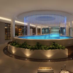 Guests can spend downtime swimming in the  ship's indoor pool. // © 2013 Century Cruises