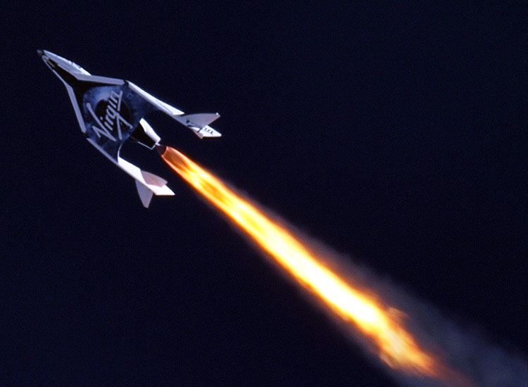 The six-passenger SpaceShipTwo, by Virgin Galactic, is expected to transport passengers by late 2013 or early 2014 to the tune of $250,000 per seat. // (c) 2013 2013 Virgin Galactic