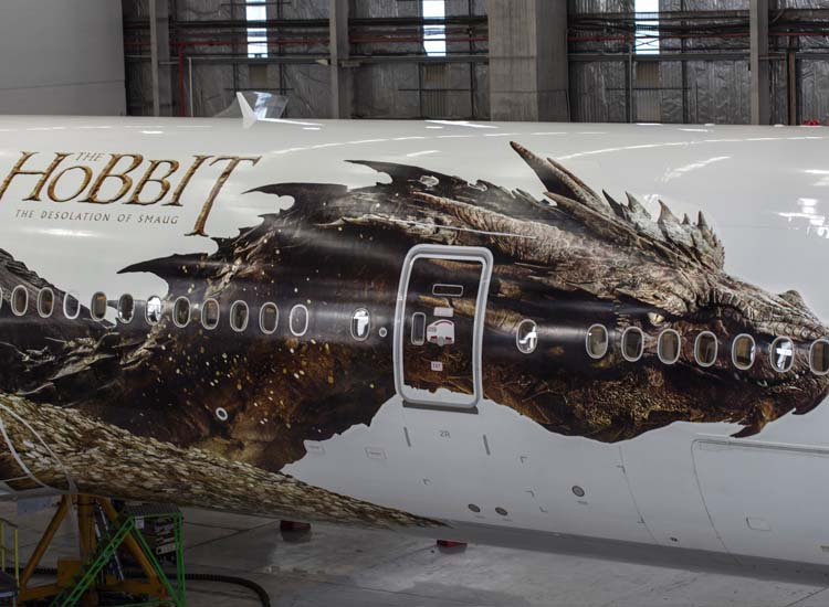 "The second plane features a 177-foot decal of the dragon Smaug from ""The Hobbit: The Desolation of Smaug."" // © 2013 Laura Forest"