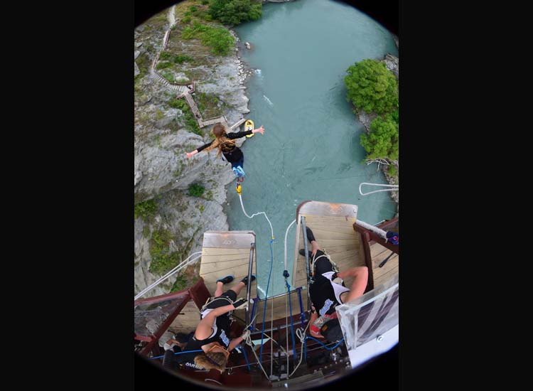Queenstown's Kawarau Bridge Bungy is a 143-foot drop and the first-ever commercial bungee site. // © 2014 AJ Hackett