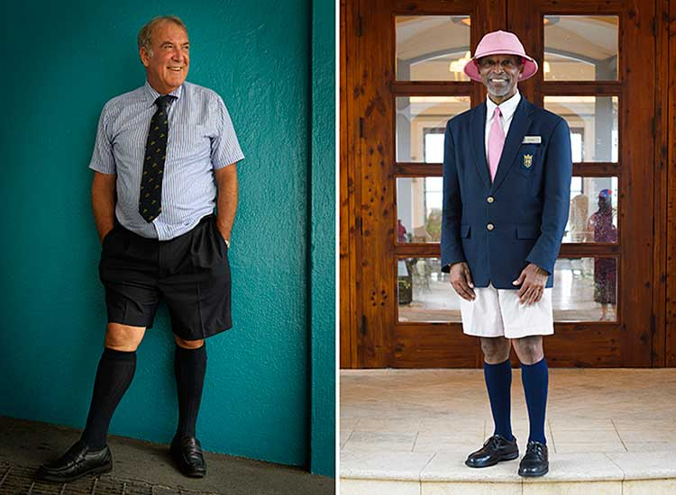 A lawyer and an employee at Rosewood Tucker's Point Hotel demonstrate Bermuda fashion. // © 2013 Mark Edward Harris