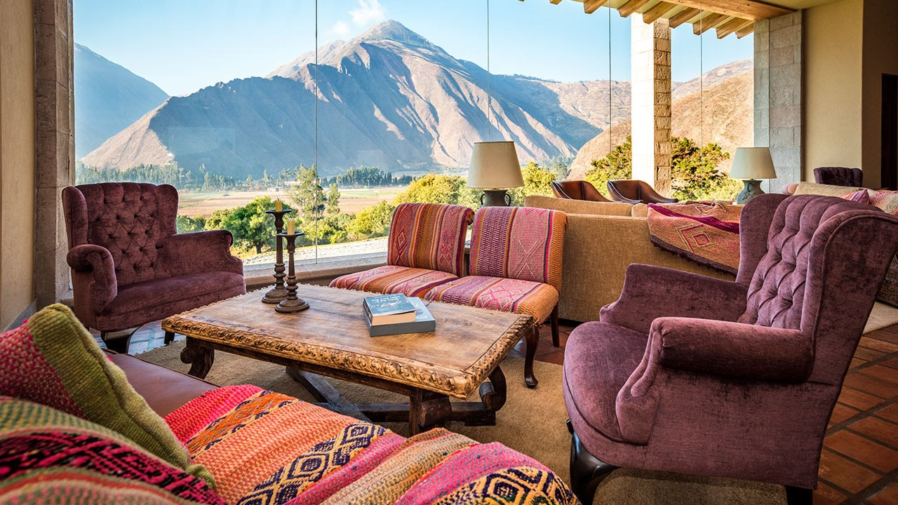 The lobby of the Inkaterra Hacienda Urubamba.