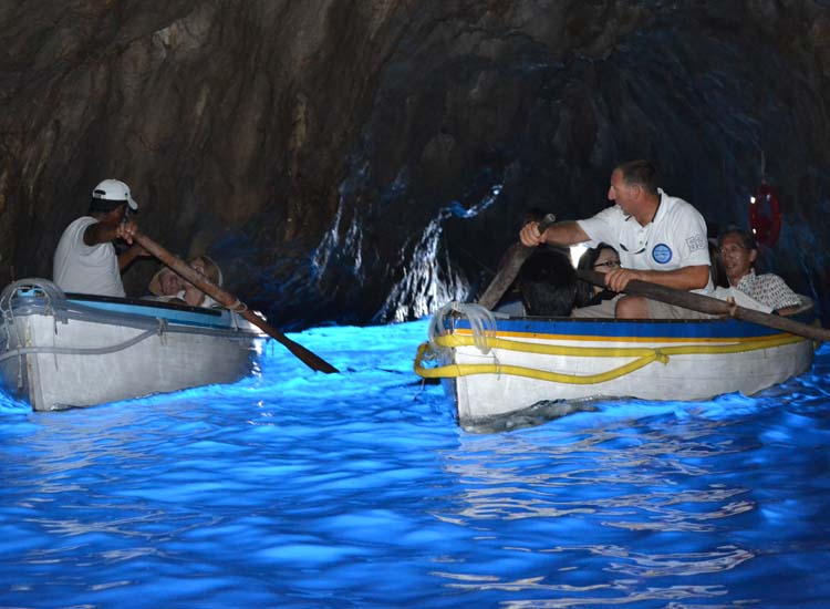 Capri's Blue Grotto is bustling with tourists during the summer months. // © 2013 Skye Mayring