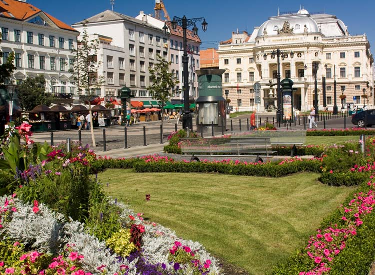 Bratislava's ornate Opera House and gardened square are the epitome of the city's Old World charm. // © 2014 Courtesy Bratislava Tourist Board