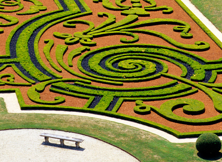 The broderies (intricate garden designs created with plants) are a unique feature of Andre Le Notre's enduring designs and were first pioneered at the Chateau Vaux le Vicomte. // © 2014 A. Chassaigne