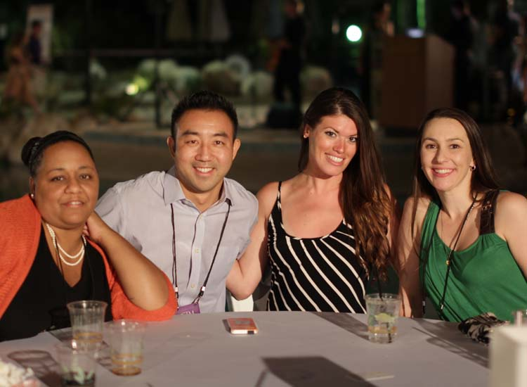 L to R: Travel agents Gina Young, Avoya Travel/ American Express; Craig Hsu, Travel Design USA Inc.; Katelyn O'Shaughnessy, TravelStore; and Mimi Cassidy, Moraga Travel // © 2014 Eugene Ko