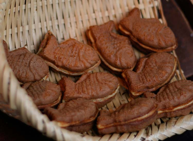 Most taiyaki is shaped like a fish and filled with red bean. // © 2014 Richard Lowe