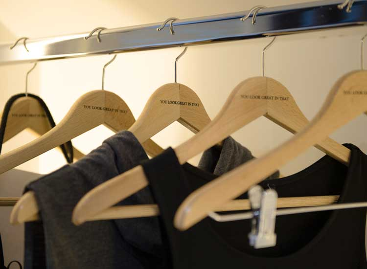 As part of Only You's commitment to offering personalized service, hangers in guestroom closets have special messages. // © 2014 Only You Hotel & Lounge Madrid