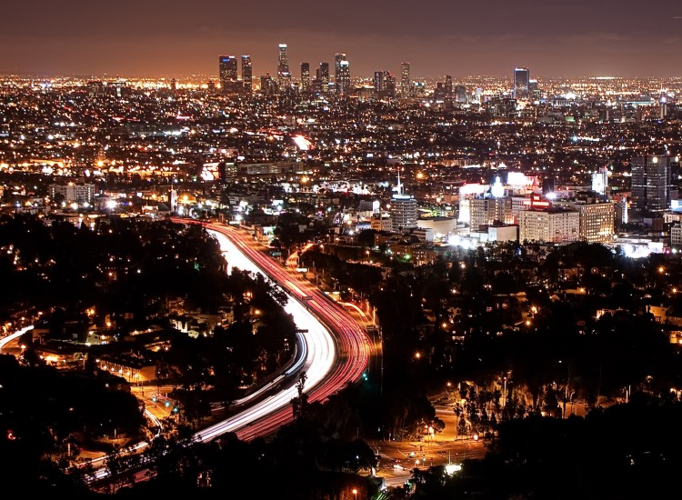 One of Los Angeles' most scenic routes, Mulholland Drive and its foothills present a classic panorama of Hollywood and downtown LA.// © 2014 Creative Commons user masivaan