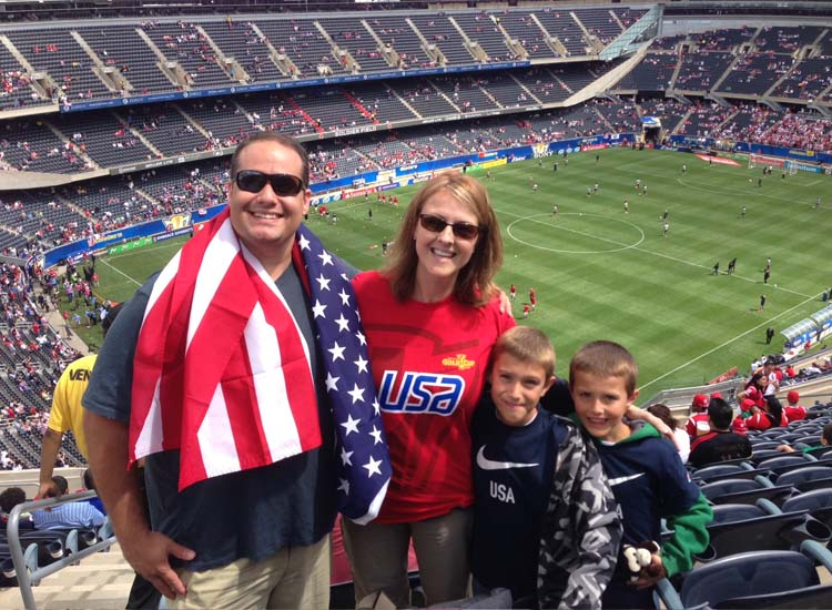 The Marinis had not planned to attend the U.S. vs. Panama soccer game, but since their Glacier Park Discovery Rail Journey was an independent trip, they were able to see the U.S. win the game. // © 2014 Amtrak Vacations