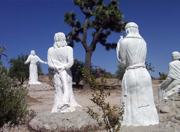 One of several unique stops near Indio — home of the Coachella and Stagecoach music festivals — is Desert Christ Park, which features more than 40 stark-white Jesus sculptures. // © 2014 Julie Thixton