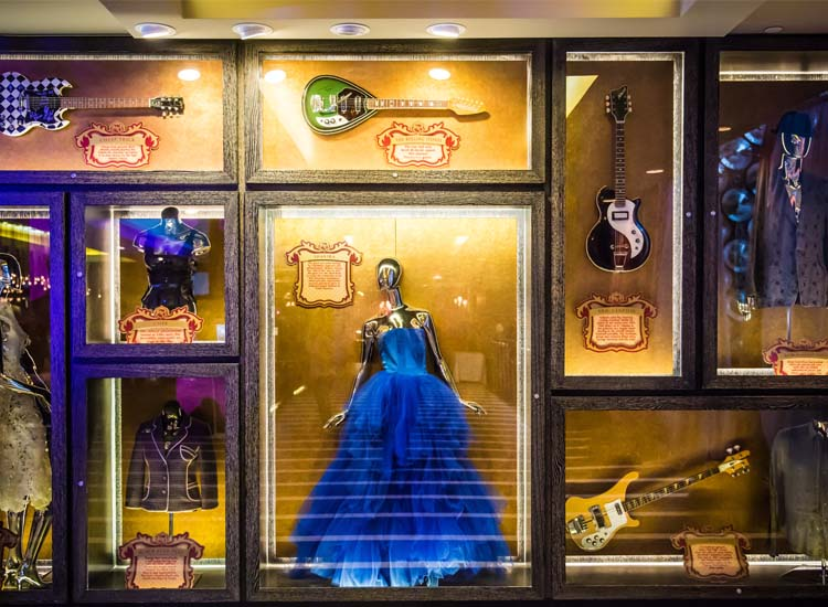 The hotel's memorabilia collection includes a blue gown worn by Shakira. // © 2013 Chris Miller