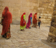 These ladies were exiting Jaisalmer Fort, India. // (c) Nancy Hartill