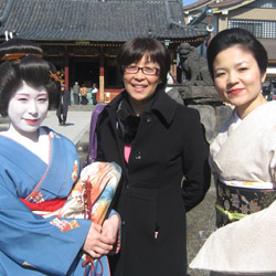Japan specialist Noriko Townsend (center) recommends visiting Kyoto's Gion district in the late afternoon, when geishas stroll the streets. // © 2014...